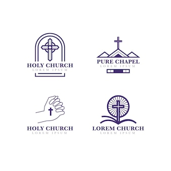 Colección de estilo de logotipo de iglesia