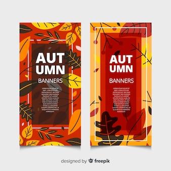 Colección de estilo plano de banner de otoño