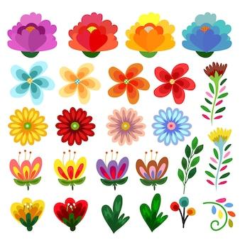 Colección de estilo plano de flores lindas mixtas