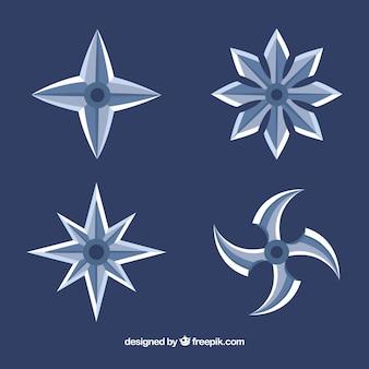 Colección de estrella ninja tradicionales con diseño plano