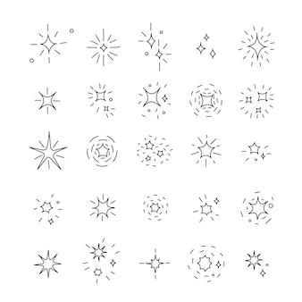 Colección de estrellas brillantes dibujadas a mano