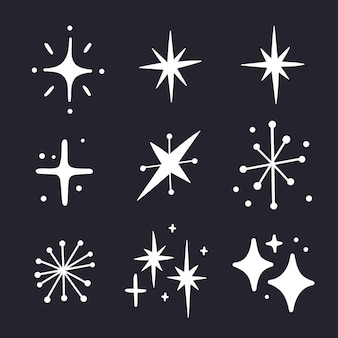 Colección estrellas brillantes dibujadas a mano