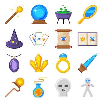 Colección de estrellas de iconos mágicos y muestra de truco de iconos de magia.