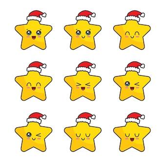 Colección de estrellas de navidad aislado en blanco