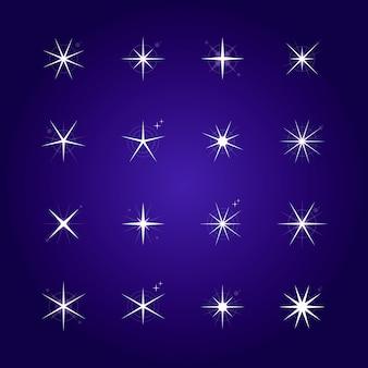 Colección de estrellas planas brillantes