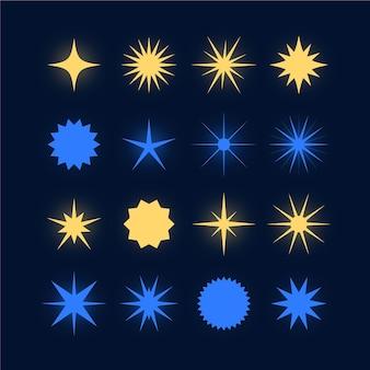 Colección de estrellas planas y brillantes