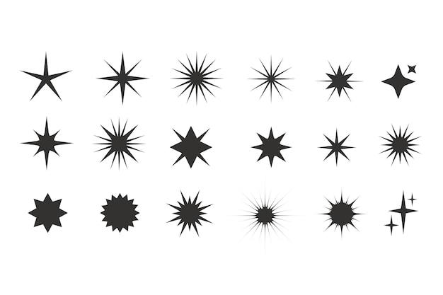 Colección estrellas planas brillantes
