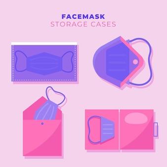 Colección de estuches de almacenamiento de mascarillas en diseño plano
