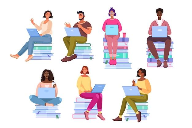 Colección de estudiantes multinacionales con diversos jóvenes sentados en libros que aprenden en línea