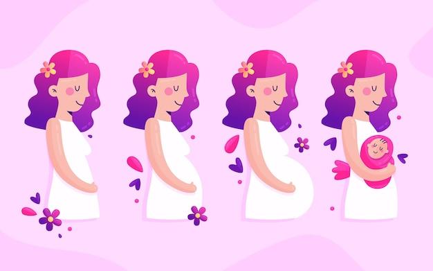 Colección de etapas de embarazo en diseño plano