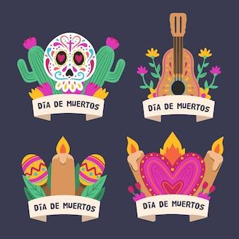 Colección de etiqueta dia de muertos en diseño plano