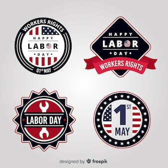 Colección de etiqueta de día de trabajo de estados unidos plana