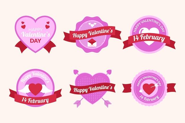 Colección de etiqueta / insignia plana de san valentín