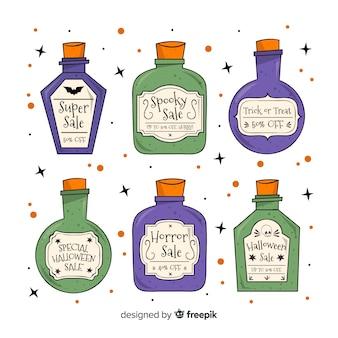 Colección de etiqueta de venta de halloween dibujada a mano