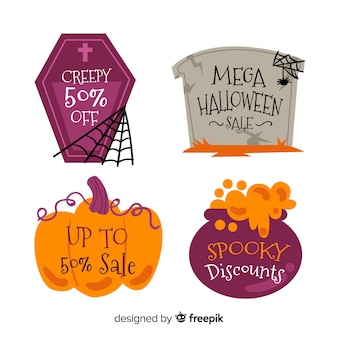 Colección de etiqueta de venta de halloween en diseño plano