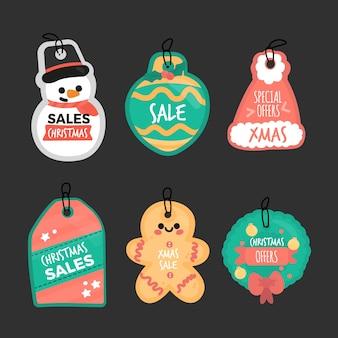 Colección de etiqueta de venta de navidad dibujada a mano