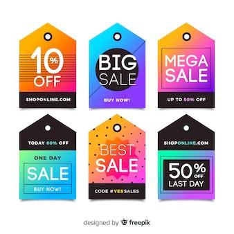 Colección de etiqueta de ventas de estilo plano.