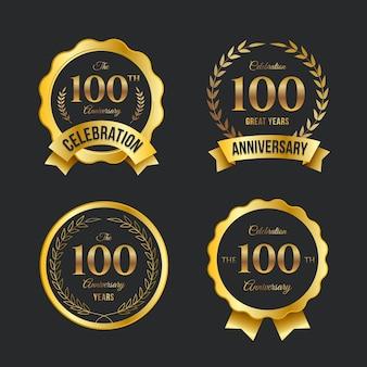 Colección de etiquetas 100 aniversario