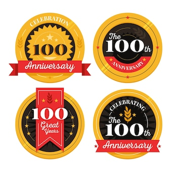 Colección de etiquetas 100% aniversario