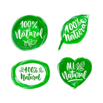 Colección de etiquetas 100% naturales