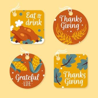 Colección de etiquetas de acción de gracias dibujadas a mano