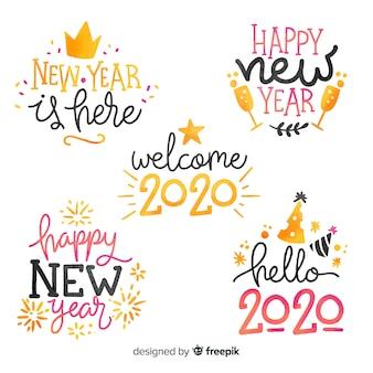 Colección de etiquetas de acuarela año nuevo 2020