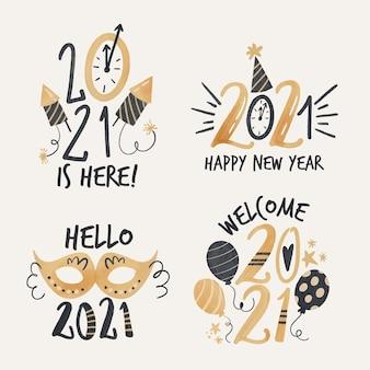 Colección de etiquetas acuarela año nuevo 2021