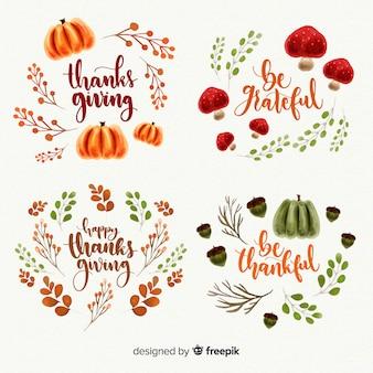Colección de etiquetas en acuarela de día de acción de gracias