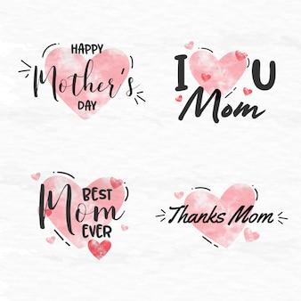 Colección de etiquetas de acuarela para el día de la madre.