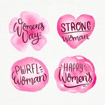 Colección de etiquetas de acuarela para el día de la mujer