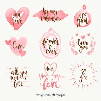 Colección de etiquetas de acuarela del día de san valentin