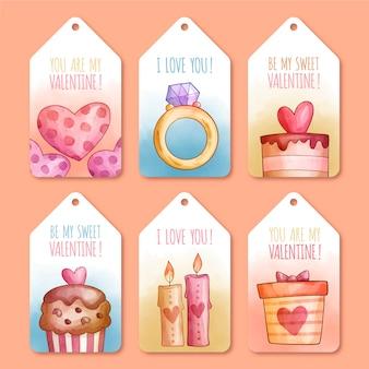 Colección de etiquetas de acuarela del día de san valentín