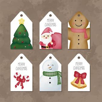 Colección de etiquetas de acuarela de feliz navidad
