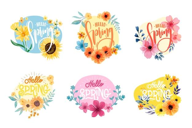 Colección de etiquetas de acuarela de primavera