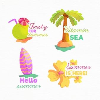 Colección de etiquetas de acuarela de verano