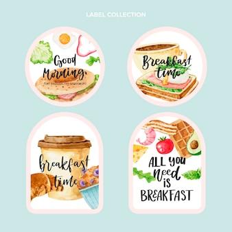 Colección de etiquetas de alimentos en acuarela