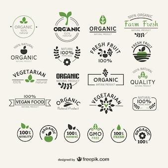 Colección de etiquetas de alimentos naturales y orgánicos