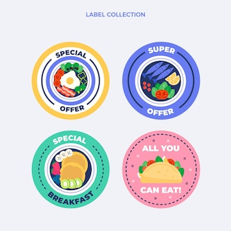 Colección de etiquetas de alimentos planas