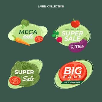 Colección de etiquetas de alimentos planos orgánicos