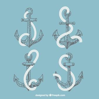 Colección de etiquetas de anclas con cuerda