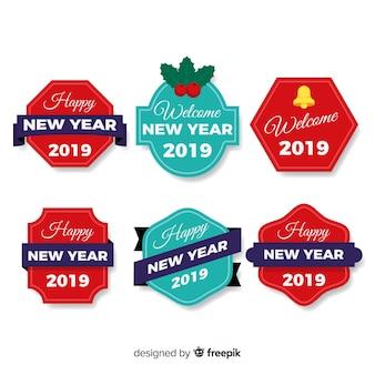 Colección de etiquetas de año nuevo 2019