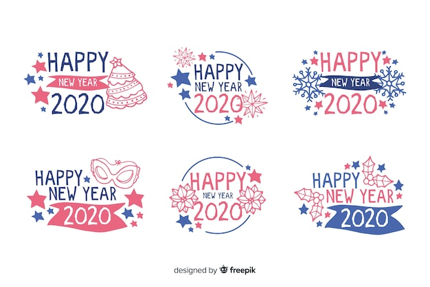 Colección de etiquetas de año nuevo 2020 dibujadas a mano