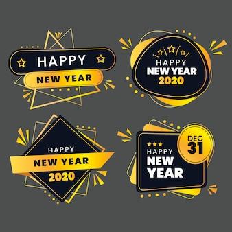 Colección de etiquetas de año nuevo 2020 en diseño plano