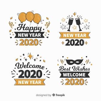 Colección de etiquetas de año nuevo dibujado a mano