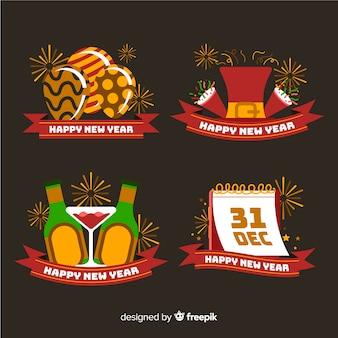 Colección de etiquetas de año nuevo de diseño plano