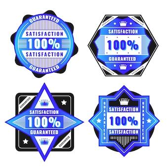 Colección de etiquetas azules 100% garantía