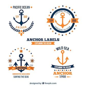 Colección de etiquetas azules y naranjas de anclas