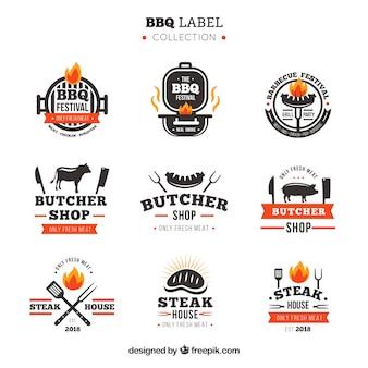 Colección de etiquetas de barbacoa