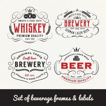 Colección de etiquetas de bebidas