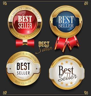 Colección de etiquetas de best seller premium de oro elegante